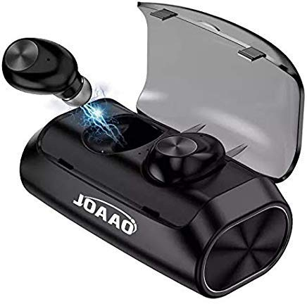JOAAO Wireless Bluetooth Earbuds, Auto Pairing Bluetooth 5.0+EDR Headset, with charging case, Portable Earphones, Built-in Microphone, for Sports, Auto, Music, Smartphone (Black)