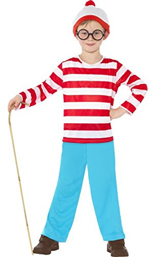[Smiffy's Lacquer Where's Wally Child's Costume - 7-9 Years] (Wheres Wally Fancy Dress Kids)