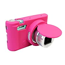 Removable Lens Cover Protective Silicone Gel Rubber Soft Camera Case Cover Bag For Casio ZR3500 Camera Magenta