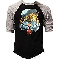 Men's Fresh Snapback Tiger Black/Gray Raglan Baseball T-Shirt 2X-Large Black/Gray
