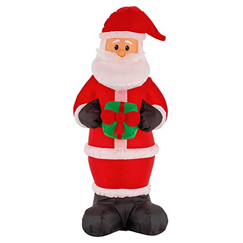 TCP Global Christmas Masters 6 Foot Inflatable Santa Claus Holding a Gift Present LED Lights Indoor Outdoor Yard Lawn Decoration - Cute Fun Xmas Holiday Blow Up Party Display