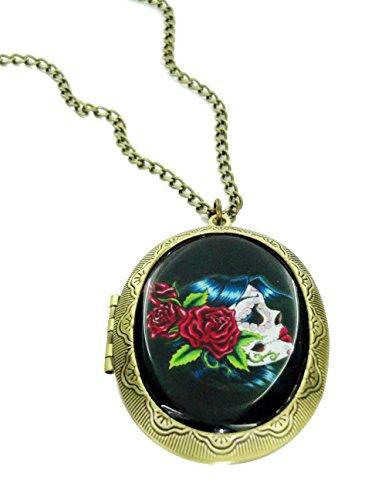 Silver Skull Locket Necklace - 4