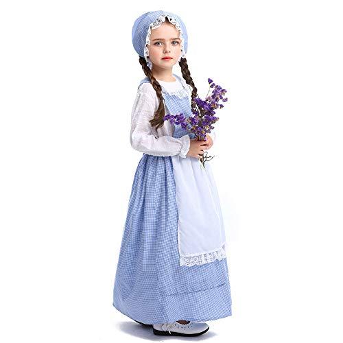 Village Girls Colonial Dress Prairie Pioneer Costume Kids Pilgrim Maid Dresses (X-Large,Blue 1)