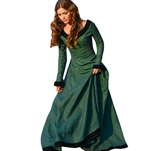 Womens Medieval Dress, Freeheart Vintage Elegant Princess Renaissance Gothic Dress (M, (Womens Princess Dress)