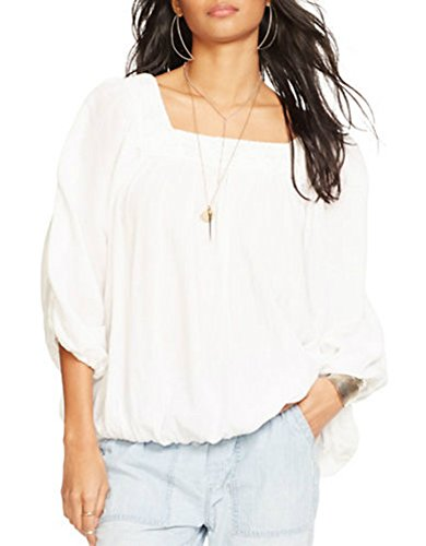 Denim & Supply Ralph Lauren Womens Gauze Lace Trim Peasant Top White M by Polo Ralph Lauren