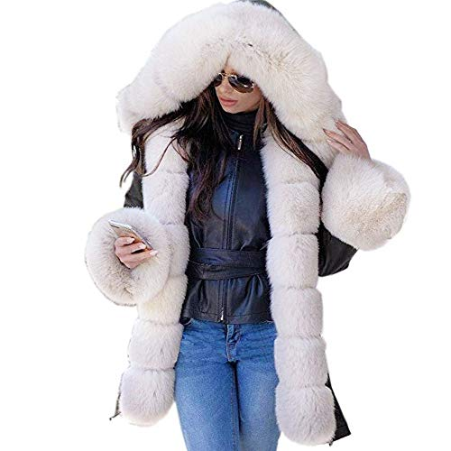 Seaintheson Faux Fur Coat with Hood Women, Women's Thicken Warm Lightweight Winter Parka Overcoat Long Jacket Outwear