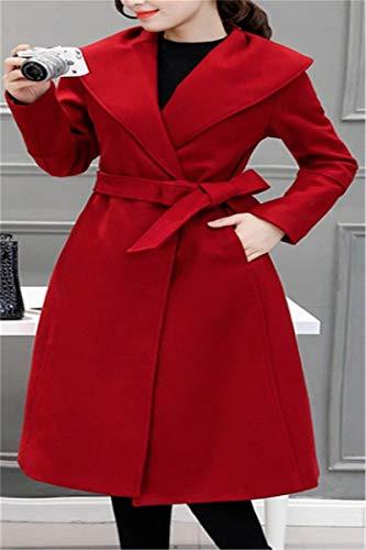 Laterali Inclusa Tasche Lunga Coat Bavero Manica Rot Di Abbigliamento Giacca Invernali Vento Moda Cintura Giubotto Cappotti Pulsante Donna qnxfvw1z7w