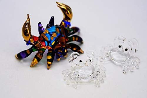 ChangThai Design 2 Pcs Aquarium Metallic Blue Vs Golden Crab HandBowl Glass Dollhouse Miniatures Decoration Figurine Collection