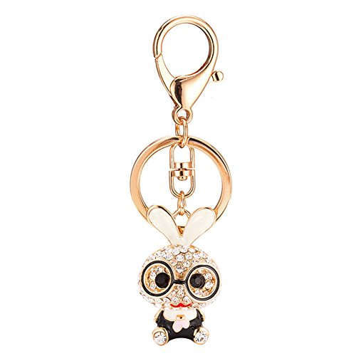 Rhinestone Rabbit Pendant - Cute Glasses Rabbit Rhinestone Keychain for Purse Handbag Car Charm Pendant