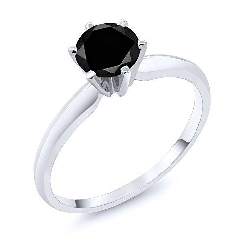 - 1.05 Ct Black Diamond 14K White Gold Engagement Solitaire Ring