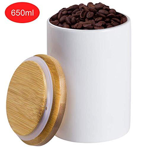 Airtight Sugar Bowl,Vermida 22oz Ceramic Food Storage Jar with Lids,Sugar Bowl Salt Container Coffee Tea Jar with Airtight Seal Bamboo Lid (650ML) (Jar Ceramic White)