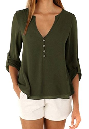 OMZIN Womens Cute Outfit Breathable Soft Blouse for Leggings Army Green M for $<!--$16.99-->