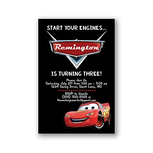 Custom Birthday Party Invitation - Lighting McQueen, Cars, Personalized (20 count) ()