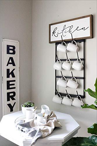 Claimed Corner Mini Wall Mounted Mug Rack - 4 Row Metal Storage Display Organizer For Coffee Mugs, Tea Cups, Mason Jars, and More. by Claimed Corner (Image #1)