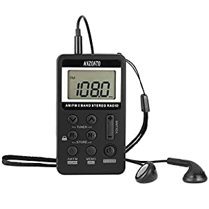 [Upgraded Version] Anzonto Pocket Portable Digital Tuning AM/FM Stereo Radio, LCD Screen,with Earphone and Rechargeable Battery for Walk (Black)