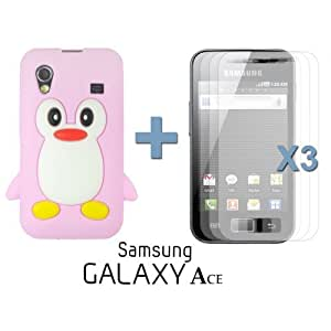 OnlineBestDigital - Penguin Style Soft Silicone Case for Samsung Galaxy Ace - Pink with 3 Screen Protectors
