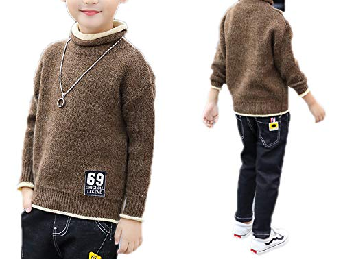 MZjJPN Boys Sweaters Winter Kids Pullovers Children Knitwear Tops Thick Velvet Knitted Big Boy Outerwear Clothes spring2a 4T