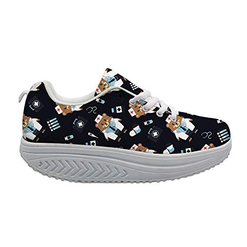 Bigcardesigns Lovely Doctor Bear Design Womens Toning Shoes Platform Sneaker Lace-up(Size US 8=EUR 39)
