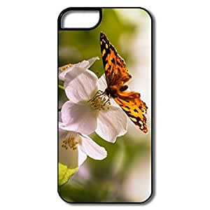 IPhone 5 5S Cases, Butterfly Flowers White/black Cover For IPhone 5/5S by icecream design