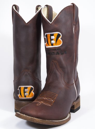 NFL Cincinnati Bengals Men's Oil Tan Square Toe Western Boot, Brown, 9 by Old Pro Leathers