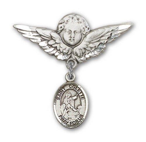 Icecarats Créatrice De Bijoux En Argent Sterling St. Colette Charme Ange Broche De Badge 1 1/8 X 1 1/8