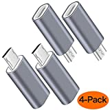 USB C to Micro USB Adapter, (4-Pack) Type C Female to Micro USB Male Convert Connector Support Charge & Data Sync Compatible with Samsung Galaxy S7/S7 Edge, Nexus 5/6 and Micro USB Devices(Grey)