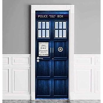 Amazon Com Doctor Who Tardis Repositionable Door Or Wall Decal Sticker