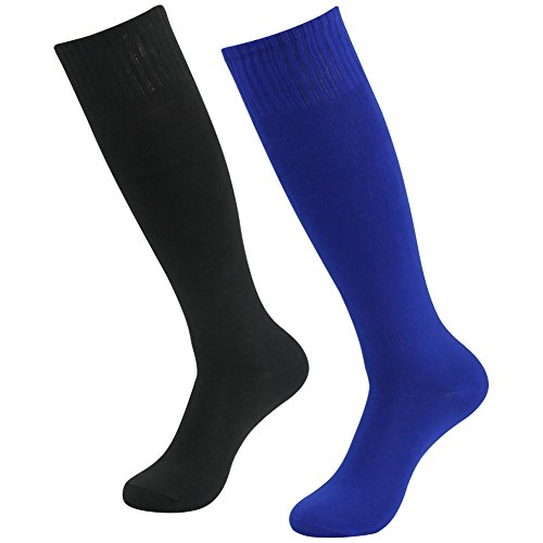 Over Design Kids Sock (3street Unisex Basics Design Thick Assorted Color All Sport Knee High Tube Socks Blue Black 2-Pair, Sizes 7-13)