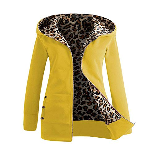GOVOW Leopard Print Tops for Women Plus Size Plus Velvet Thickened Hooded Sweater Zipper Coat(S,Yellow)