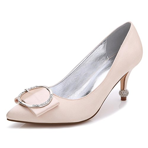 L@YC Women's High-Heeled Shoes B-17767-41 Close Toe Tip Spring Fall Silk Custom-Made Large Size Shoes for Wedding Champagne