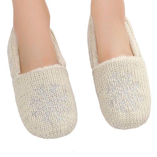 Bestfur Womens Chaude Tricot Confortable En Peluche Chaussures Dintérieur Pantoufles Blanc