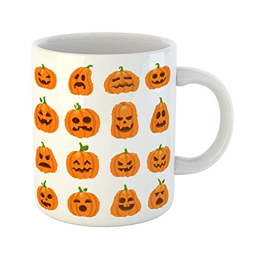 Emvency Coffee Tea Mug Gift 11 Ounces Funny Ceramic Cartoon Halloween Pumpkin Orange Carving Scary Smiling Cute Glowing Faces Gourd Gifts For Family Friends Coworkers Boss Mug