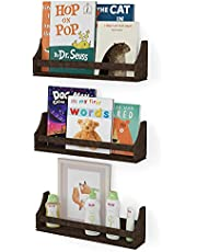 Nursery Décor Wall Shelves 3 Shelf Set Rustic Burnt Wash Crown Molding Floating Bookshelves for Baby and Kids Room, Book Organizer Storage Ledge, Display Holder for Toys, CDs, Baby Monitor (20 Inches)