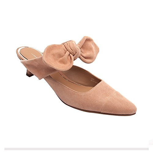 Linea Paolo Crissy | Women's Bow Adorned Kitten Heel Handcrafted Suede Mule (New Spring) Nude Suede