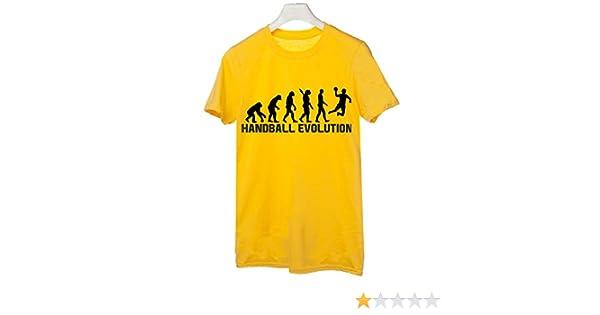 t-shirteria Camiseta Handball Evolution – Evolution – Handball – Balonmano – Deporte – Humor – de Algodón, Amarillo, M: Amazon.es: Deportes y aire libre
