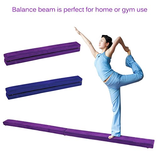 Homgrace Folding Floor Balance Beam, Durable Gymnastics Bar Training Equipment for Girls, Boys, Toddlers, Teens (purple, 2.4m)