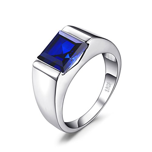 JewelryPalace Men's Square 3.3ct Created Blue Sapphire Engagement Ring Solid 925 Sterling Sliver Size 9 Dark Blue Sapphire Ring