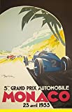MONACO,France 1933 Art Deco Travel/Motor Racing Poster - Poster Size : A4