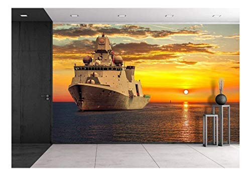 wall26 - The Military Ship on Sea at Sunrise. - Removable Wall Mural | Self-Adhesive Large Wallpaper - 100x144 inches