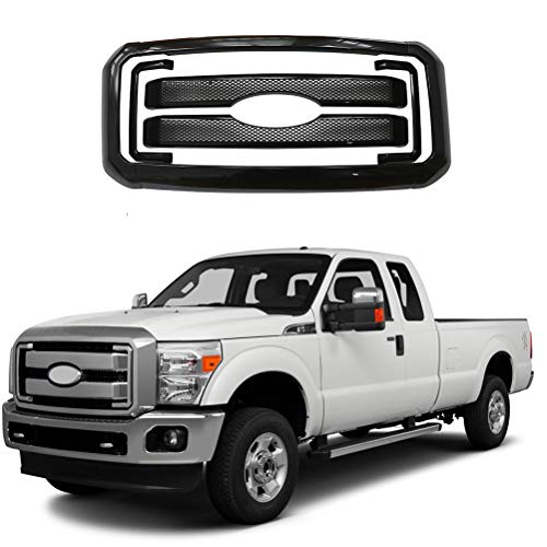 NINTE for 2011-2016 Ford F-250 F-350 F-450 F-550 Super Duty - Painted Gloss Black Front Bumper Hood Mesh Grill Cover W/Surround - 8pcs