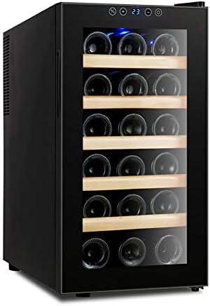 Vinoteca De 18 Botellas Con Display Digital, 48 Litros De Capacidad Refrigerante Thermo Electric Multi Temperatura 11 ° C-18 ° C, Puerta De Vidrio Templado, Panel Táctil E Iluminación Interior LED