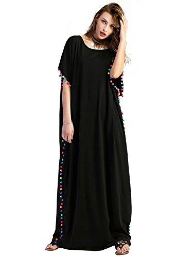 Floerns Women's Pom Pom Trim O Neck Casual Loose Maxi Kaftan Dress Black M (Maxi Kaftan)