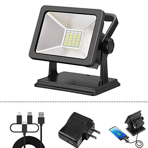 PG LED15W Portable Work Light, Outdoor Waterproof floodlight, with Magnet Base, Suitable for Camping, Emergency Lights, Mountain Climbing, Built-in Rechargeable Battery Mobile Power and SOS Mode (15)