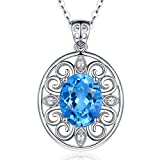 Fine Jewelry Gift for Women 925 Sterling Silver Natural Gemstone Pendant Necklace Peacock Plume Swiss Blue Topaz