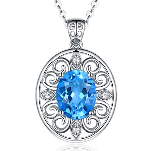 Fine Jewelry Gift for Women 925 Sterling Silver Natural Gemstone Pendant Necklace Peacock Plume Swiss Blue Topaz ()