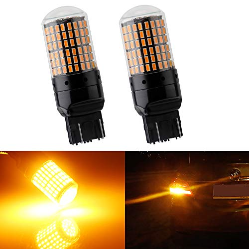 EverBright 7443 7440 Brake Light Bulb, Canbus No Hyper Flash T20 992 WY21W Replacement for Led Brake Light Amber, 3014 Chipset 144SMD 2800 Lumen(Pack of 2)
