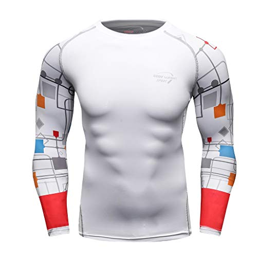 Shirt Yoga Fitness Dry Fit Print Soft Compression Athletic Tee Top (XXL, Gray) ()