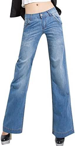 Ecupper Women's Loose Fit Straight Jeans Middle Waist Stretch Denim Pants