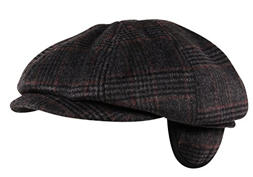 Luxury Brushed Wool Flannel 8 Panel Flat Cap Hat Ear Flap Baker Boy Tweed Check Charcoal ()