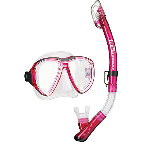 TUSA Sport Adult Powerview Mask and Dry Snorkel Combo, Bougainvillea Pink